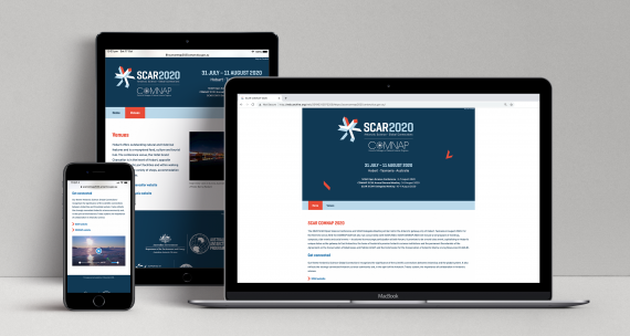 SCAR COMNAP 2020 responsive website displayed on three devices: a laptop, a tablet and a mobile phone.