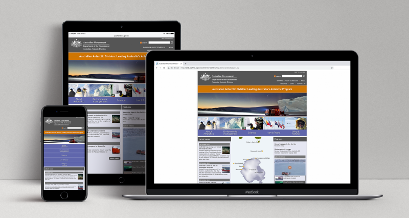 Australian Antarctic Program responsive website (2015 version) displayed on three devices: a laptop, a tablet and a mobile phone.